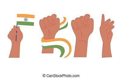 drapeau, jour indépendance, heureux, inde, mains élevées, poing, geste
