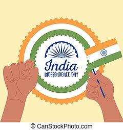drapeau, jour indépendance, national, heureux, inde, élevé, celebraton, mains