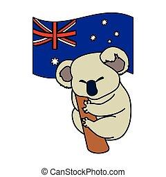 drapeau, koala, australie, fond