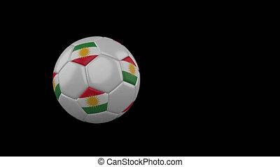 drapeau, kurdistan, alpha, fond, canal, balle, football, voler, transparent