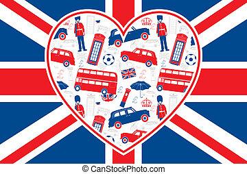 drapeau, londres, -, coeur, britannique, icônes