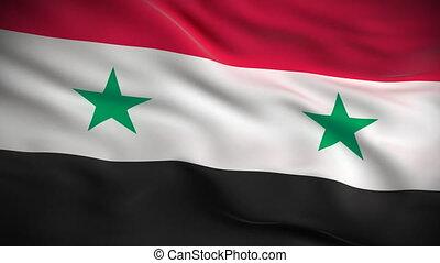 drapeau, looped., syrien, hd.