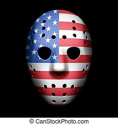 drapeau, masque, gardien de but, usa