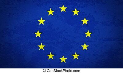 drapeau, mur, explosion, eu