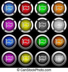 drapeau, noir, lustré, fond, rond, boutons, blanc, icônes