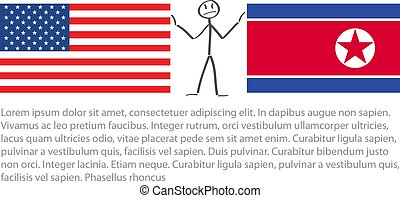 drapeau, nord, drapeau, amérique, entre, nous, vecteur, etats, tension, uni, corée, stickerman, calmer