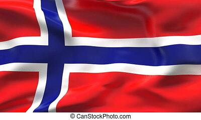 drapeau norvège, vent, plissé