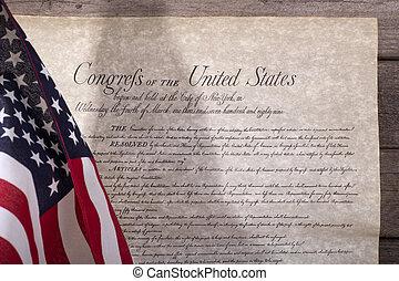 drapeau, note, américain, droits