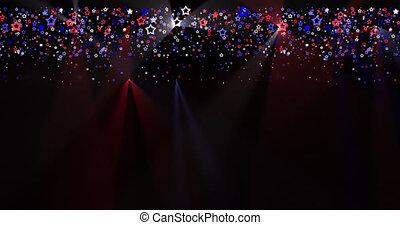 drapeau, nous, animation, couleurs, étoiles