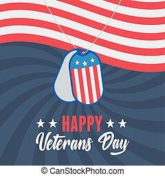 drapeau, onduler, forces, heureux, soldat, armée, signe, américain, militaire, nous, armé, jour, vétérans