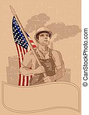drapeau, ouvrier, américain
