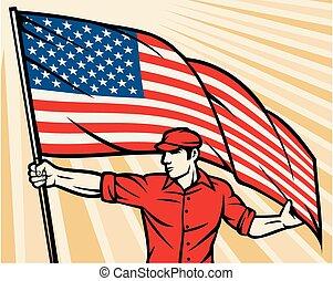 drapeau, ouvrier, tenue, usa