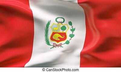drapeau pérou, vent, plissé