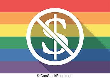 drapeau, permis, dollar, fierté gaie, signe, pas, long, ombre, signal