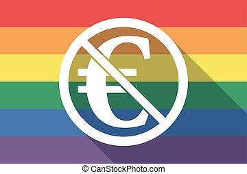 drapeau, permis, euro, fierté gaie, signe, pas, long, ombre, signal