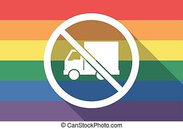 drapeau, permis, fierté gaie, pas, long, livraison, ombre, camion, signal