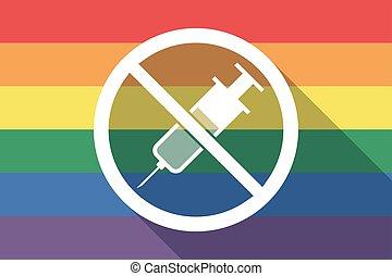 drapeau, permis, fierté gaie, pas, long, ombre, seringue, signal