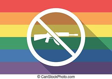 drapeau, permis, fusil, fierté gaie, pas, long, ombre, signal