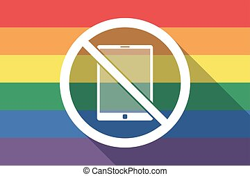 drapeau, permis, pc, fierté gaie, pas, long, ombre, tablette, signal