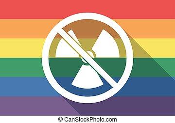 drapeau, permis, radioactivité, fierté gaie, signe, pas, long, ombre, signal