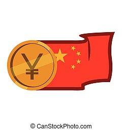 drapeau, pièces, porcelaine, yuan