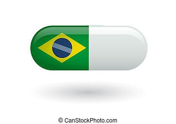 drapeau, pilule, brésil