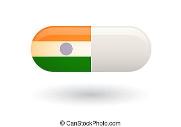 drapeau, pilule, inde