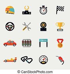 drapeau, piste, voiture course, moderne, icônes, plat, courses