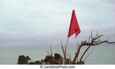 drapeau, plage, rouges