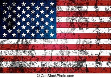 drapeau, porté, usa, sale