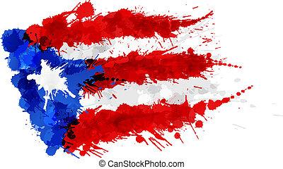 drapeau, rico, puerto, fait, eclabousse, coloré