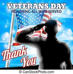 drapeau, silhouette, saluer, jour vétérans, conception, américain, soldat