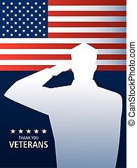 drapeau, soldat, militaire, vétérans, nous, jour, saluer, heureux