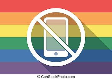 drapeau, téléphone, permis, fierté gaie, pas, long, ombre, signal