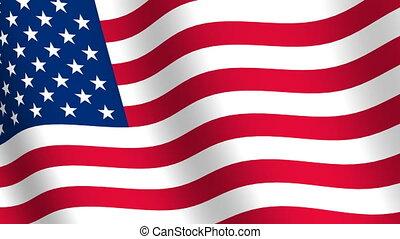 drapeau, uni, onduler, etats