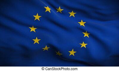 drapeau, union, looped., européen, hd.