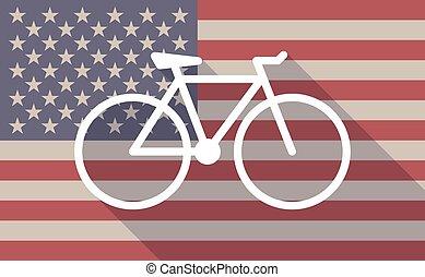 drapeau, vélo, usa, icône