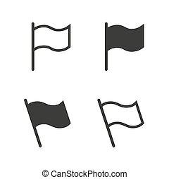 drapeau, vecteur, ensemble, icône