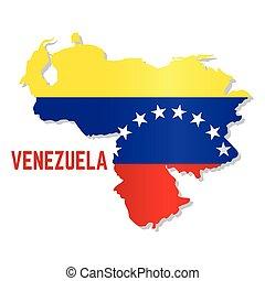 drapeau venezuela, carte, isolé