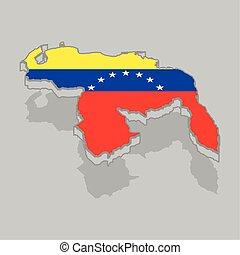 drapeau venezuela, isolé, 3d, carte