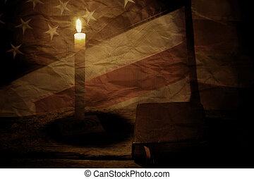 drapeau, vieux, nous, book.
