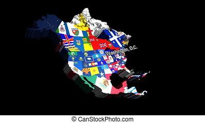 drapeaux, état, usa, washington, 3d