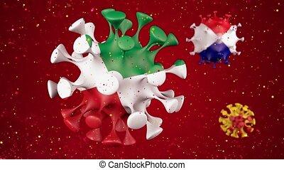 drapeaux, animation, italie, tchèque, différent, covid19, canal, rouges, alpha, coronavirus, virus, countries., espagne, 2019-ncov, balle, arrière-plan., 3d, république, sphères