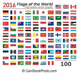 drapeaux, ensemble, différent, countries.