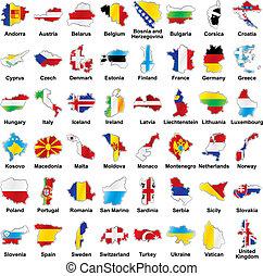 drapeaux européens, carte, détails, forme