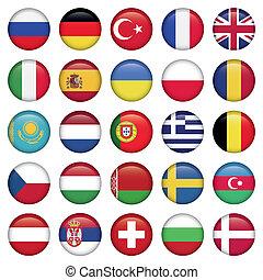 drapeaux européens, rond, icônes
