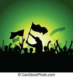 drapeaux, foule, heureux
