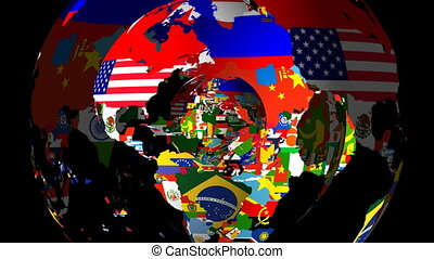 drapeaux, globe, rotation, hd, loopable, pays