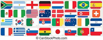 drapeaux, national, autocollants