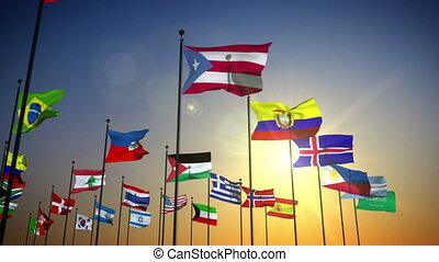 drapeaux, nations